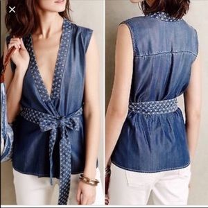 Anthropologie Holding Horses Chambray Wrap Top